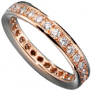 Memory Ring 585 Gold Rotgold mit Diamanten Brillanten rundum Memoryring