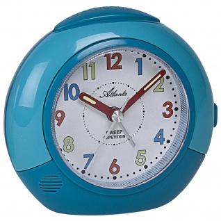 Atlanta 1708/5 Wecker für Kinder Quarz analog Kinderwecker blau mit Licht