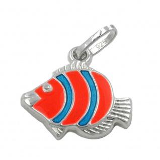 Anhänger 12x12mm Clownfisch orange blau Silber 925