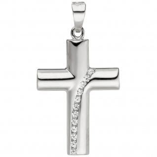 Anhänger Kreuz 925 Sterling Silber 12 Zirkonia Kreuzanhänger Silberkreuz