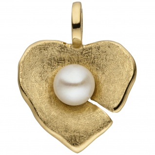 Anhänger Herz 585 Gold Gelbgold eismatt 1 Süßwasser Perle Herzanhänger