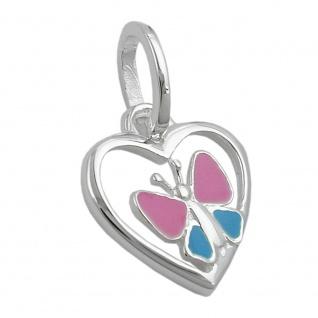 Anhänger 11mm Herz mit Schmetterling hellblau-pink Silber 925