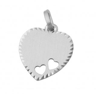 Anhänger 15x14mm Gravurplatte Herz mit 2 Herzen matt-diamantiert Silber 925