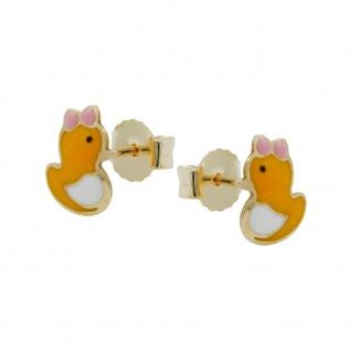 Stecker 7x5mm kleine Ente farbig emailliert 9Kt GOLD