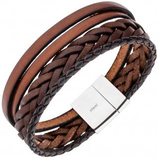 Herren Armband 4-reihig Leder braun geflochten mit Edelstahl 21 cm Herrenarmband