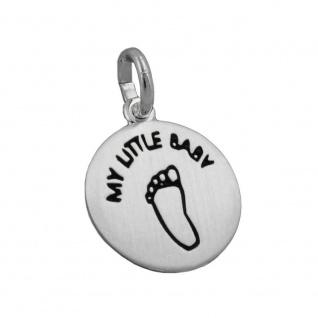 Anhänger 12mm Gravur MY LITTLE BABY Fußabdruck schwarz matt Silber 925