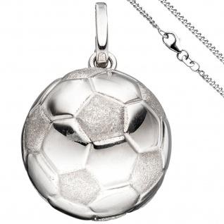 Kinder Anhänger Fußball 925 Silber Fußballanhänger mit Kette 42 cm