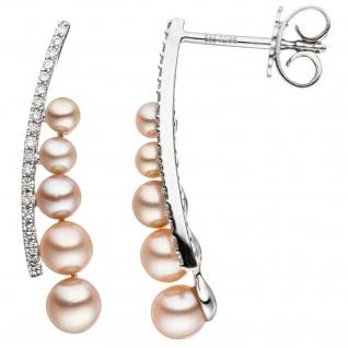 Ohrhänger 585 Weißgold 10 Süßwasser Perlen rosa 36 Diamanten Brillanten