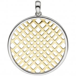 Anhänger rund 925 Sterling Silber bicolor vergoldet
