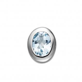 Anhänger oval 925 Sterling Silber rhodiniert 1 Blautopas blau hellblau