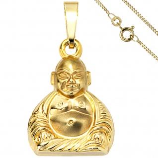 Anhänger Buddha 333 Gold Gelbgold mit Kette 50 cm