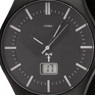JOBO Herren Armbanduhr schwarz Funk Funkuhr Edelstahl Herrenuhr mit Datum - Vorschau 2