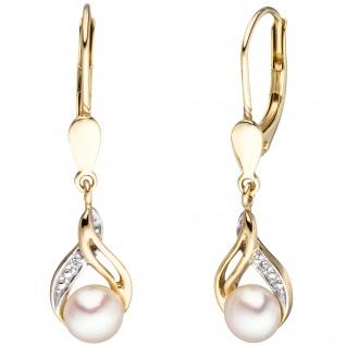 Boutons 585 Gold Gelbgold 2 Süßwasser Perlen 2 Diamanten Ohrringe Ohrhänger