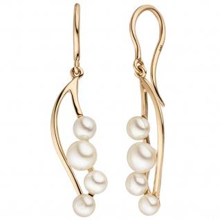 Ohrhänger 585 Gold Rotgold 8 Süßwasser Perlen Ohrringe Perlenohrringe