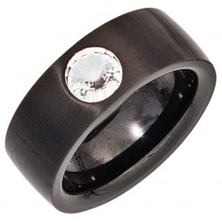 Damen Ring Edelstahl schwarz beschichtet mit Kristallstein