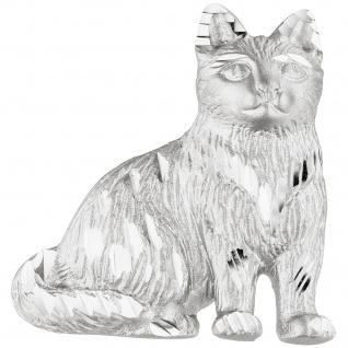 Anhänger Katze 925 Sterling Silber teil matt Silberanhänger Katzenanhänger