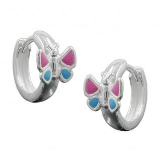 Creole 12x7mm Klappscharnier Schmetterling pinkblau Silber 925