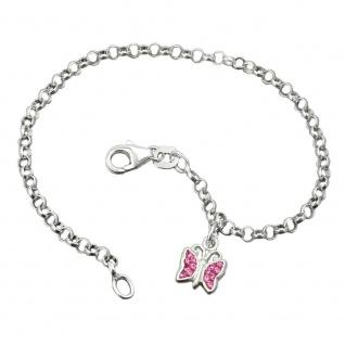 Armband 2, 6mm Erbskette Schmetterling Glasstein pink Silber 925 16cm