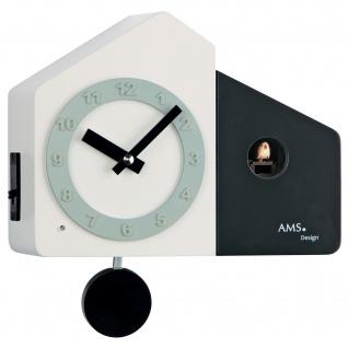 AMS 7397 Kuckucksuhr Wanduhr Quarz mit Pendel modern schwarz weiß