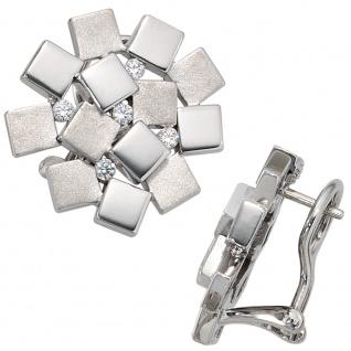 Ohrstecker 925 Sterling Silber rhodiniert mattiert 10 Zirkonia Ohrringe