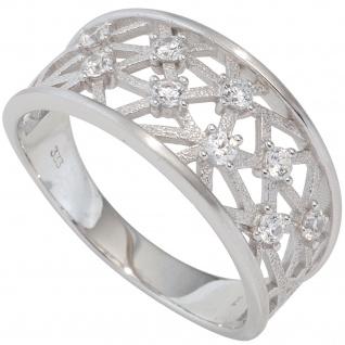 Damen Ring breit 333 Gold Weißgold teil matt 9 Zirkonia Goldring Weißgoldring