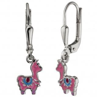 Kinder Ohrhänger Lama pink 925 Sterling Silber Ohrringe Kinderohrringe