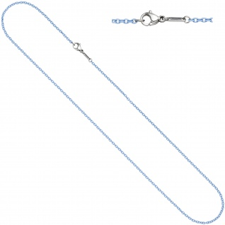 Rundankerkette Edelstahl blau lackiert 42 cm Kette Halskette Karabiner
