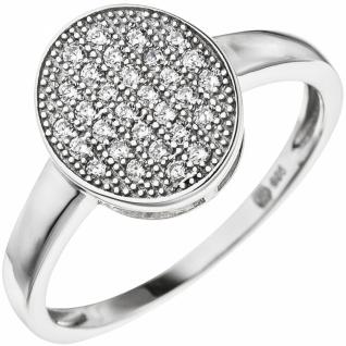 Damen Ring oval aus 925 Sterling Silber mit 30 Zirkonia Silberring