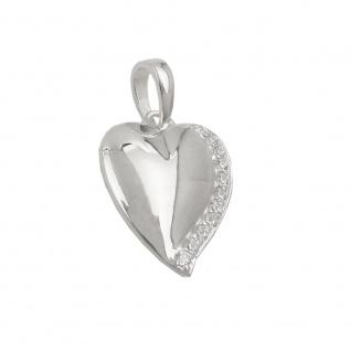 Anhänger 16x14mm Herz mit Zirkonia glänzend Silber 925