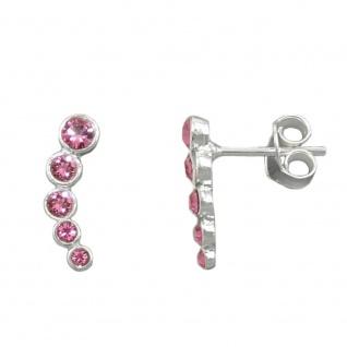Stecker 14x3, 5mm 5x Glas-Steine pink Silber 925