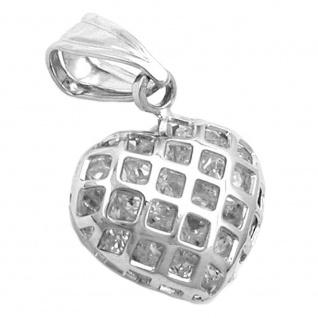 Anhänger 13, 5x12mm Herz mit Zirkonias gefüllt Silber 925