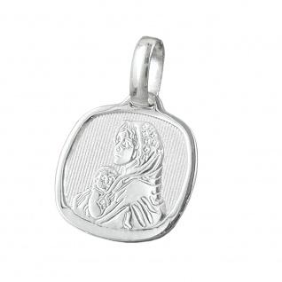 Anhänger 16x15mm Maria mit Jesuskind glänzend Silber 925