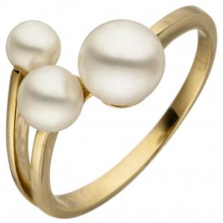Damen Ring 585 Gold Gelbgold 3 Süßwasser Perlen Perlenring