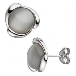 Ohrstecker rund 925 Sterling Silber 2 Katzenaugen grau Ohrringe Silberohrringe