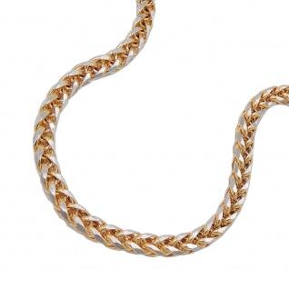Armband 2, 4mm Zopfkette bicolor 14Kt GOLD 19cm