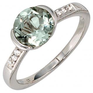 Damen Ring 585 Gold Weißgold 6 Diamanten Brillanten 1 Amethyst grün Goldring