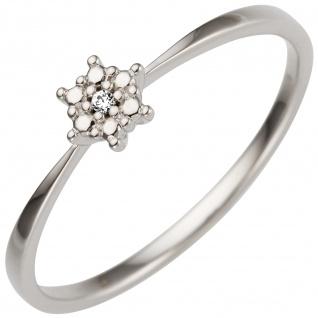 Damen Ring 585 Gold Weißgold 1 Diamant Brillant 0, 01ct.
