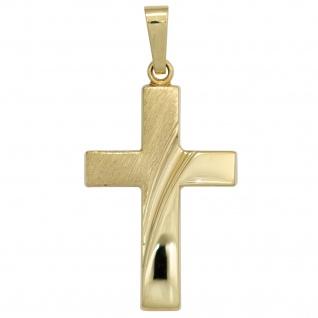 Anhänger Kreuz 585 Gold Gelbgold teil matt Kreuzanhänger Goldkreuz