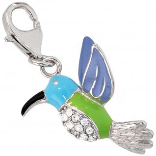 Einhänger Charm Kolibri bunt 925 Sterling Silber