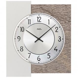 AMS 9580 Wanduhr Quarz analog silbern mit Naturstein Auflage
