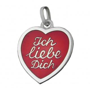 Anhänger 17x16mm Herz rot lackiert - Ich liebe Dich- Silber 925