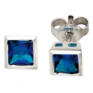Ohrstecker quadratisch 925 Sterling Silber rhodiniert 2 Zirkonia blau Ohrringe
