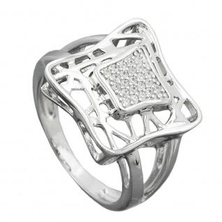 Ring 16mm mit vielen Zirkonias glänzend rhodiniert Silber 925 Ringgröße 58