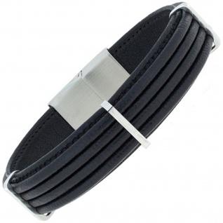Armband Leder schwarz mit Edelstahl 23 cm
