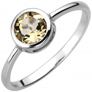 Damen Ring 925 Sterling Silber 1 Citrin gelb Silberring