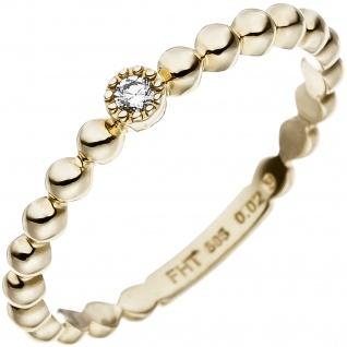 Damen Ring Kugel 585 Gold Gelbgold 1 Diamant Brillant 0, 02ct. Goldring Kugelring