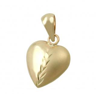 Anhänger 10x10mm Herz mattiert diamantiert mit Zweig 9Kt GOLD