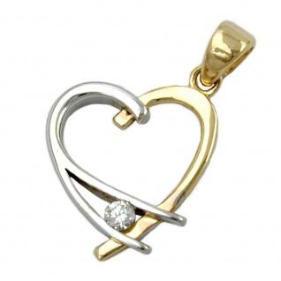 Anhänger 14x13mm Herz offen bicolor mit Zirkonia 9Kt GOLD