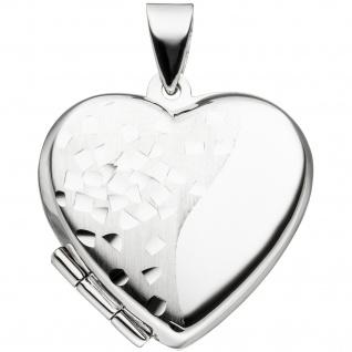 Medaillon Herz für 2 Fotos 925 Silber teil matt Herzmedaillon zum Öffnen