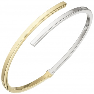 Armreif Armband oval 925 Sterling Silber bicolor vergoldet